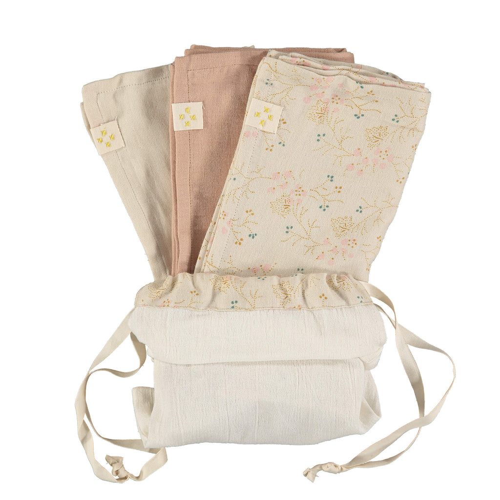 Beautiful set of 3 muslin squares for a new mum and baby comes in a storage bag, perfect for a gift comes in Minako golden print, peach and stone by camomile london