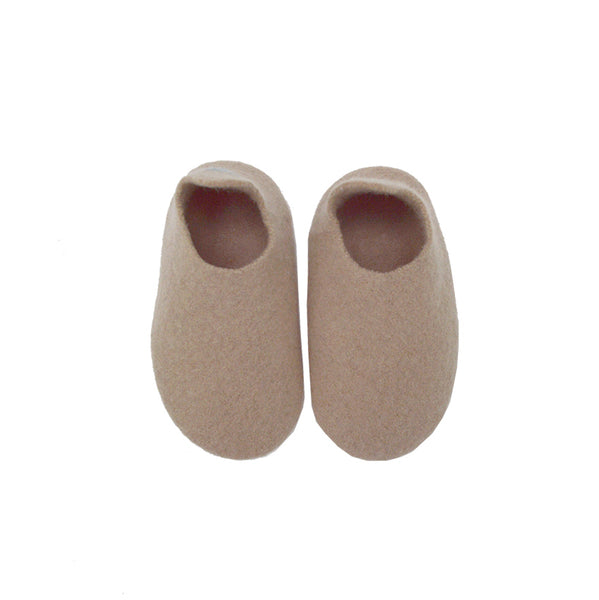 Hand made Boiled Wool Merino Slippers - Soft Biscuit