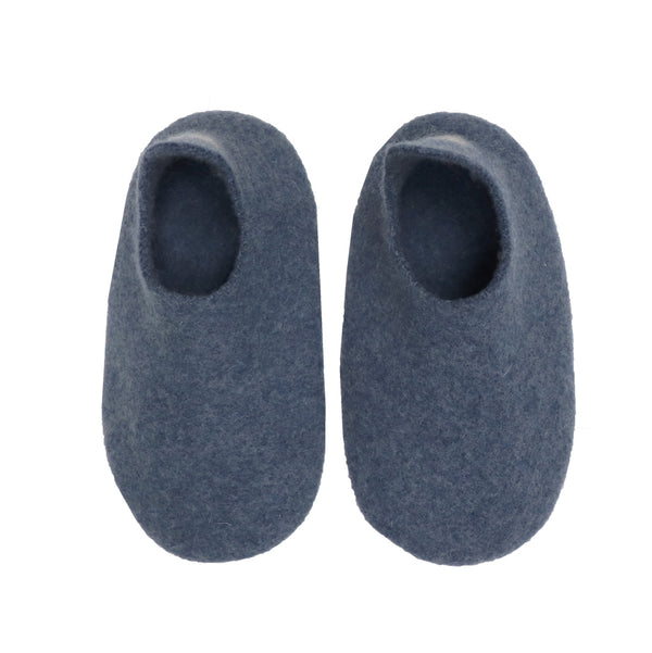 Hand made Boiled Merino Wool Slippers - Blue Melange