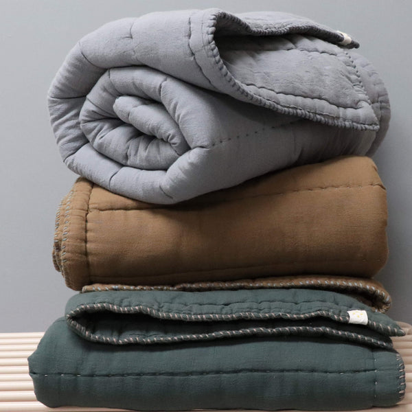 Hand Quilted blanket - Double/King Blue Grey