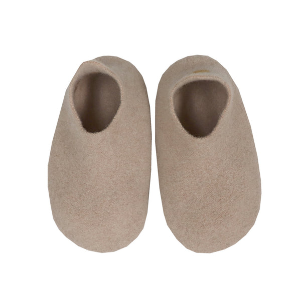 Hand made Boiled Merino Wool Slippers - Soft Biscuit