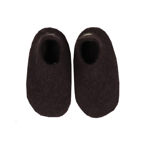 Hand made Boiled Wool Merino Slippers - Chocolate