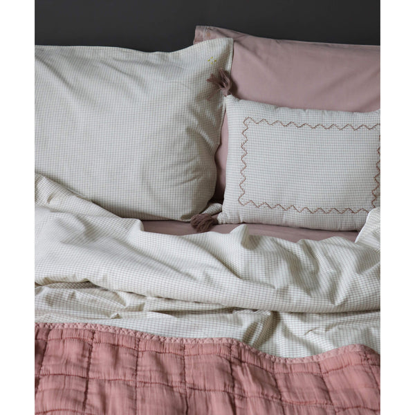 Double Check Ivory/ Clay Duvet Cover