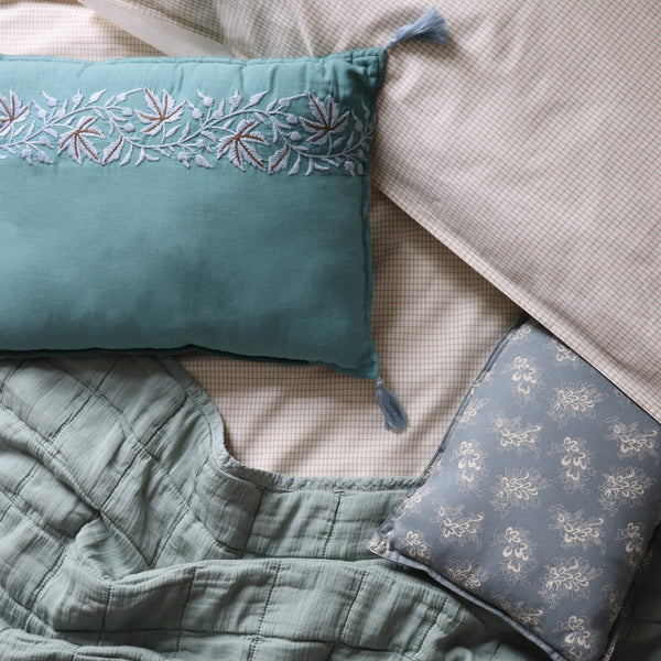 Ivy Teal Embroidered Padded Cushion