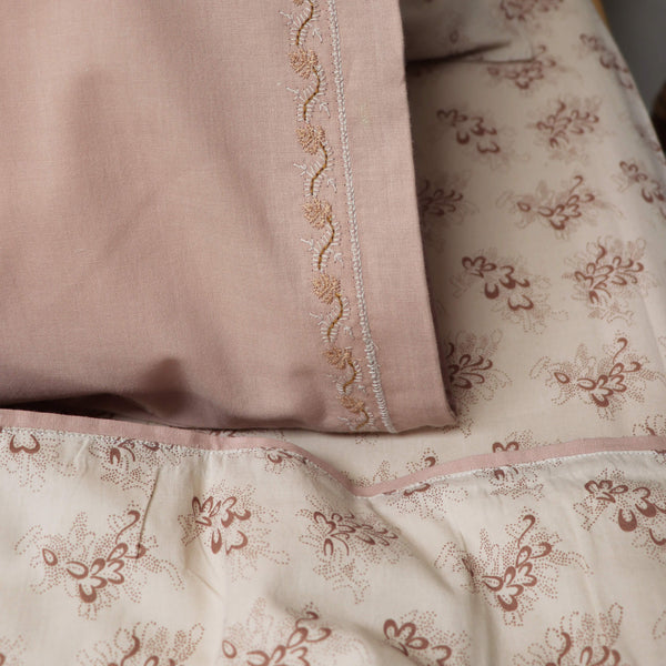 Embroidered Leaf Pillowcase - Light Mink