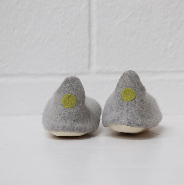 Hand made Boiled Merino Wool Slippers - light grey melange