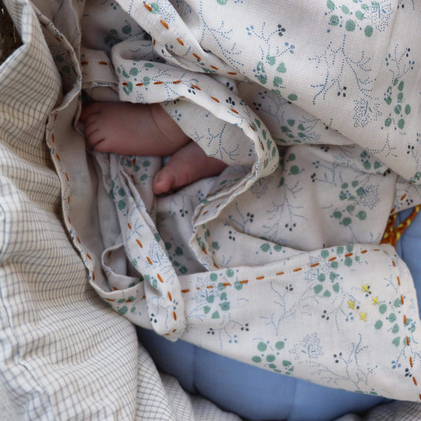 Single Layer Swaddle Blanket - Minako Cornflower/ Stone