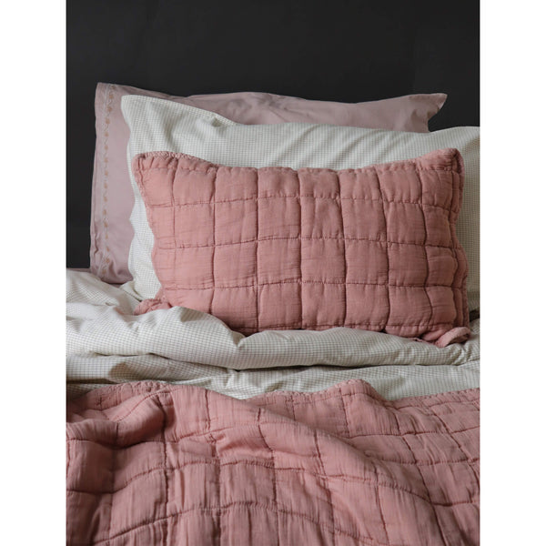 Square Quilted Gauze Cushion Cover - Peach