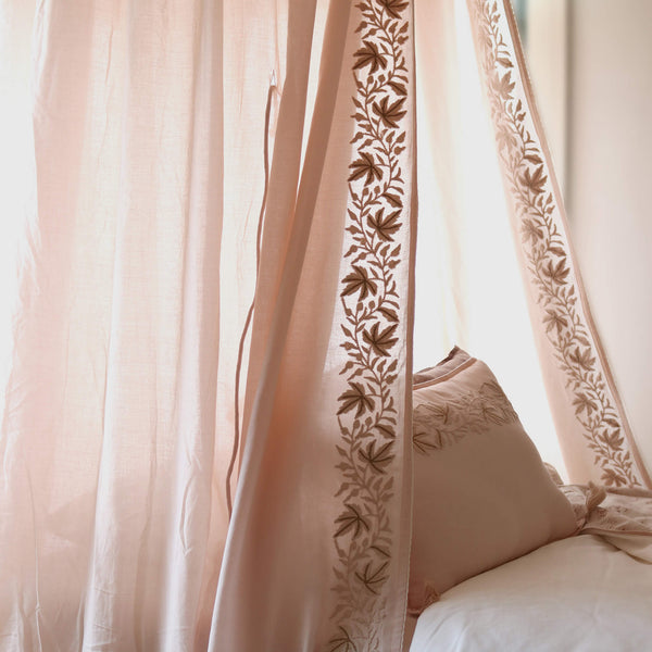 Ivy Motif Embroidered Canopy - Pink