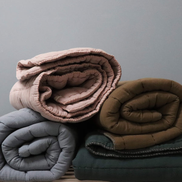 Hand Quilted blanket - Double/ King Khaki