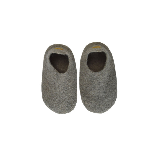 Hand made Boiled Merino Wool Slippers - Mid grey melange