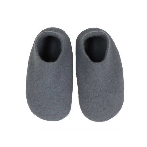 Hand made Boiled Merino Wool Slippers - Steel Blue