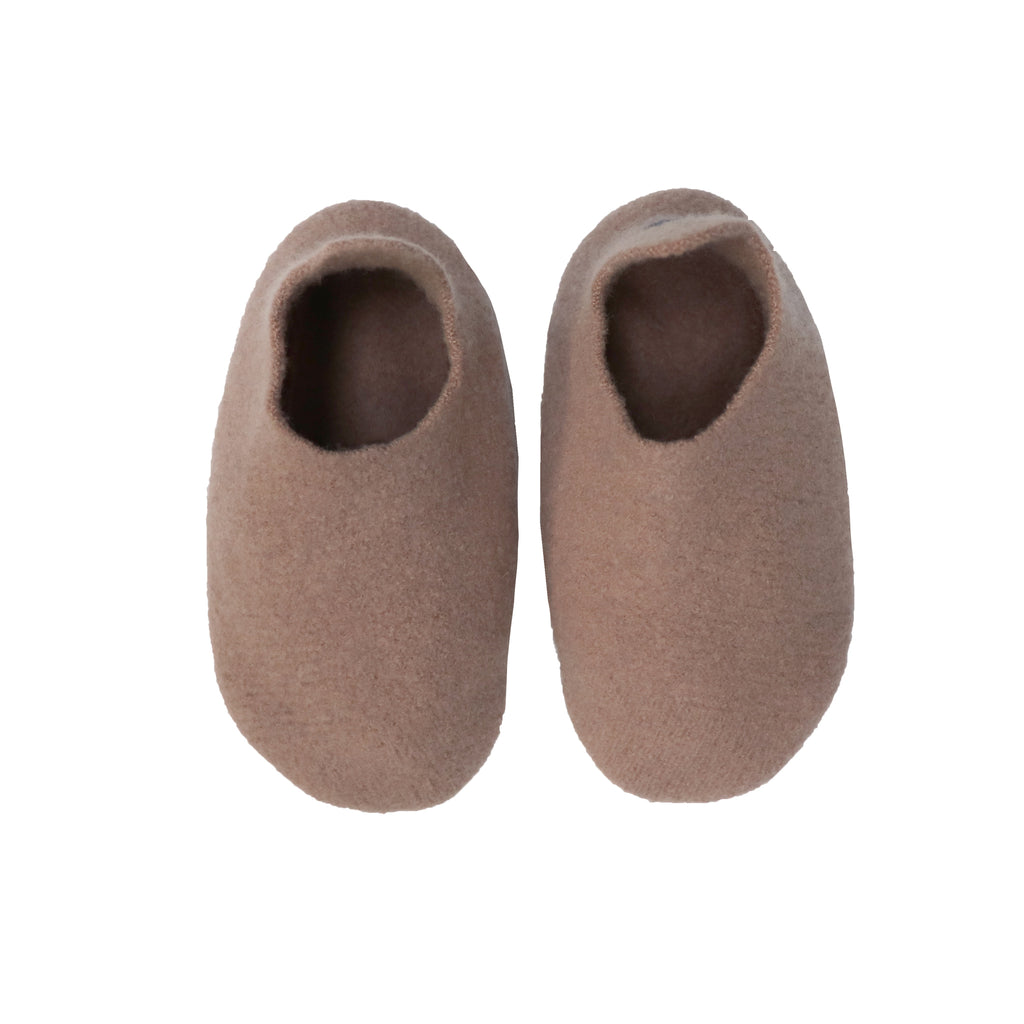 Hand made Boiled Merino Wool Slippers - Taupe