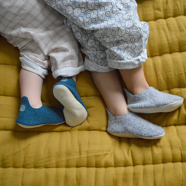 Hand made Boiled Merino Wool Slippers - Mid Grey Marl
