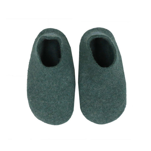 Hand made Boiled Merino Wool Slippers - Teal