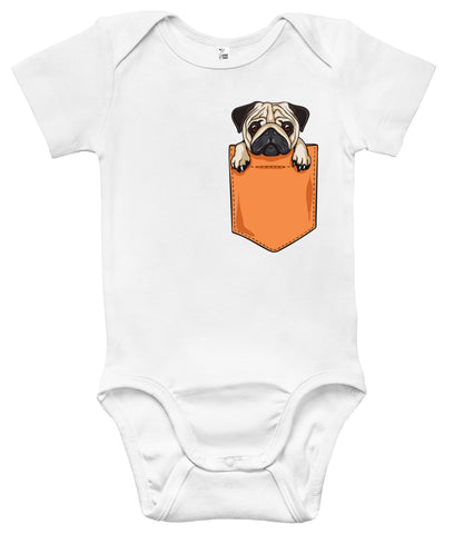 Baby Bodysuit - Pug Dog in the Pocket
