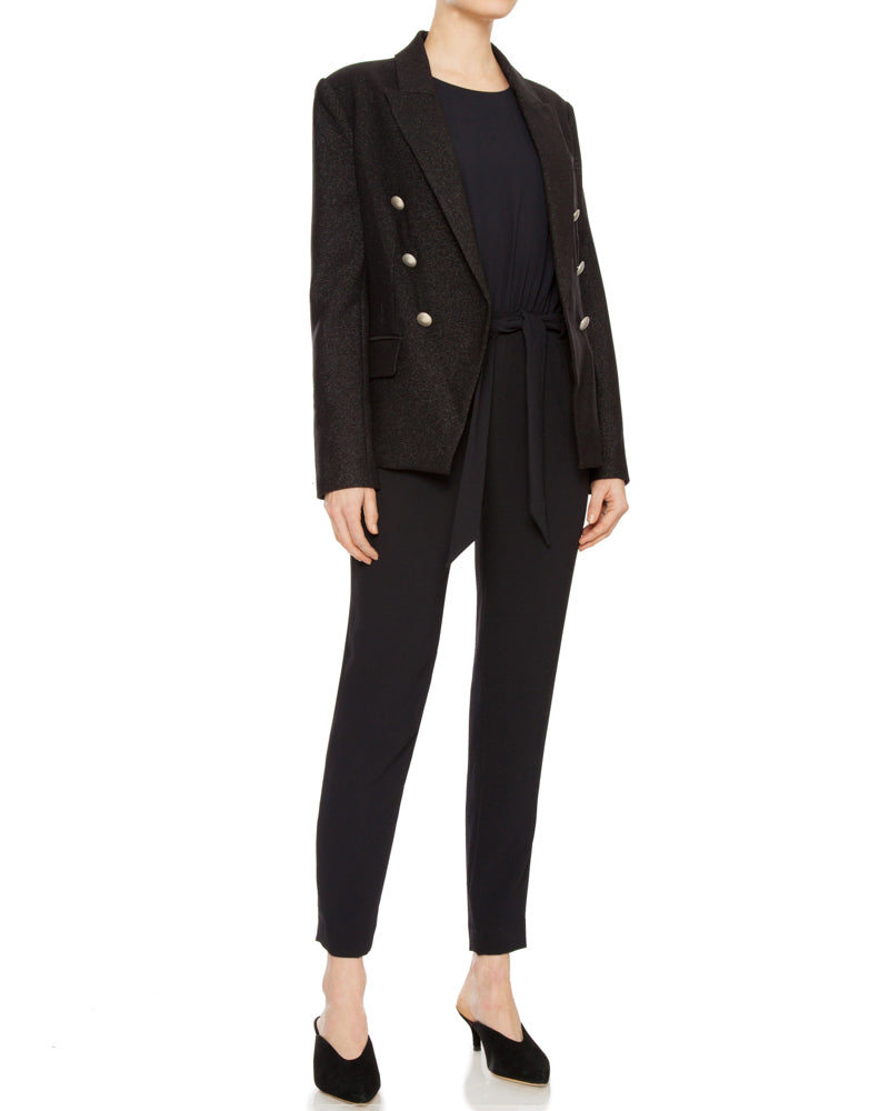 Kenzie Double Breasted Blazer in Black Sparkle