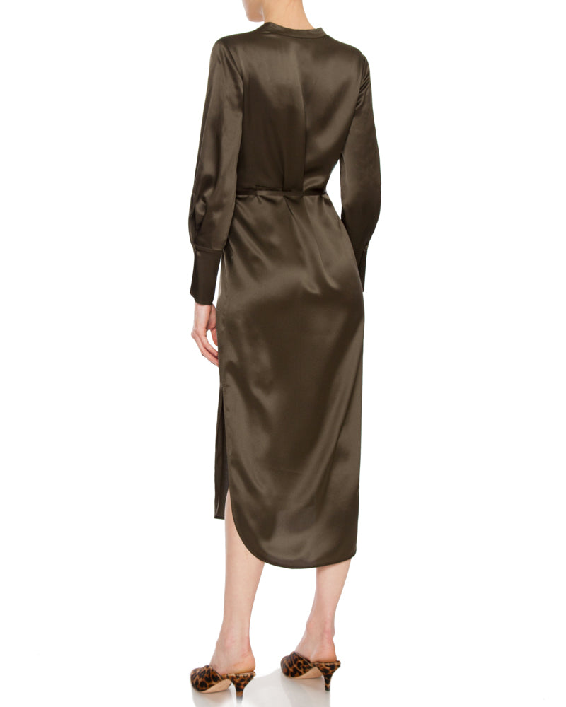 Band Collar Silk Shirt Dress