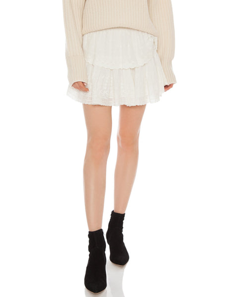 Ruffle Mini Skirt-Ivory