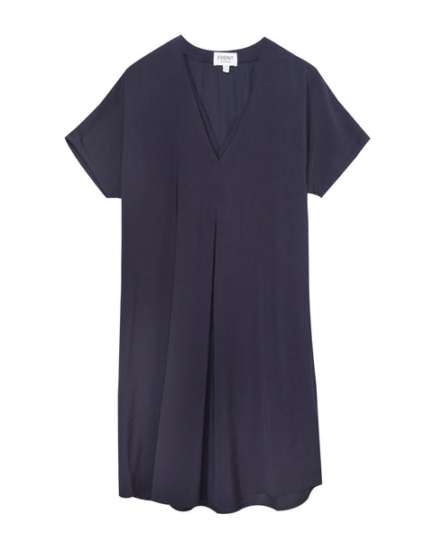 Front Pleated V Neck Shift Dress