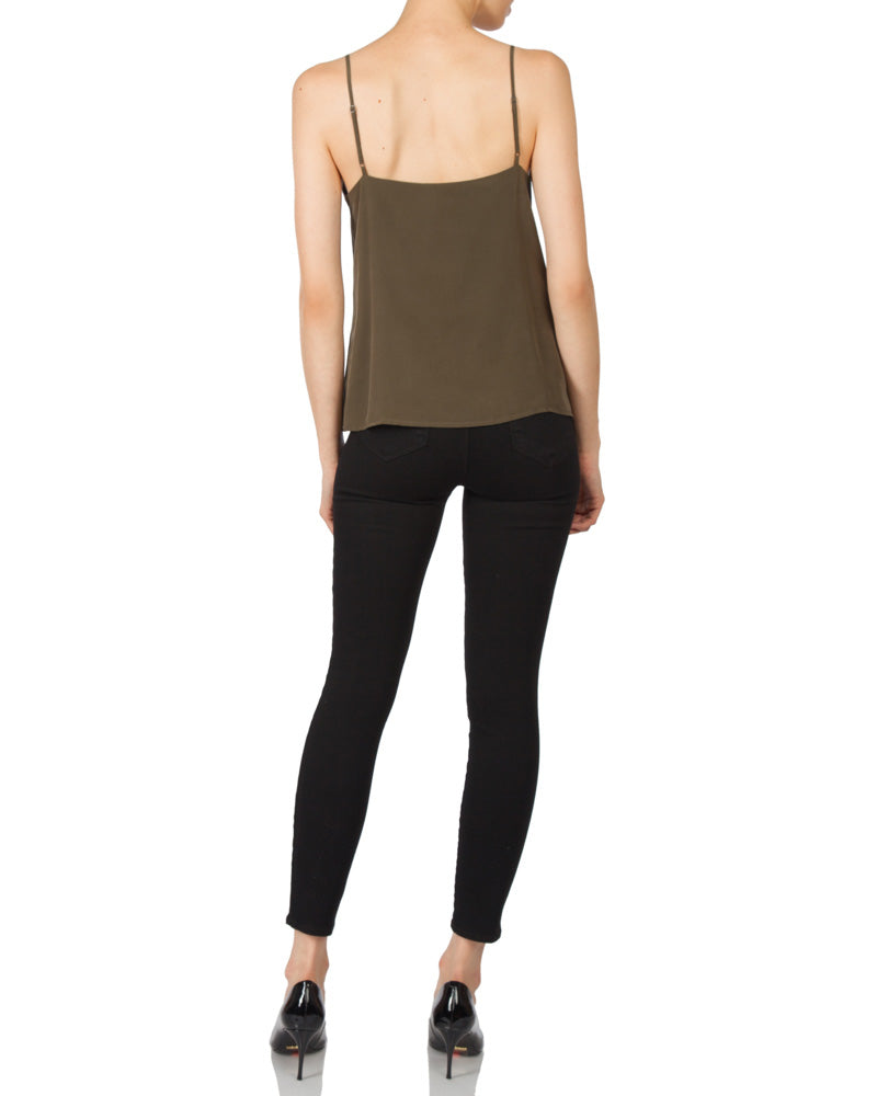 Jane Spaghetti Strap Top in Dark Olive Marcona