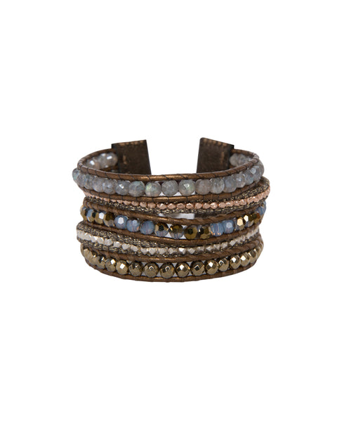 Pyrite Mix Semi Precious Stones Leather Brown Wrap Bracelet