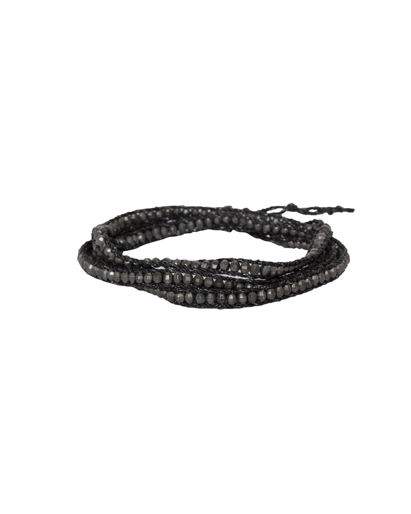 Gunmetal Wrap Bracelet On Black Cord