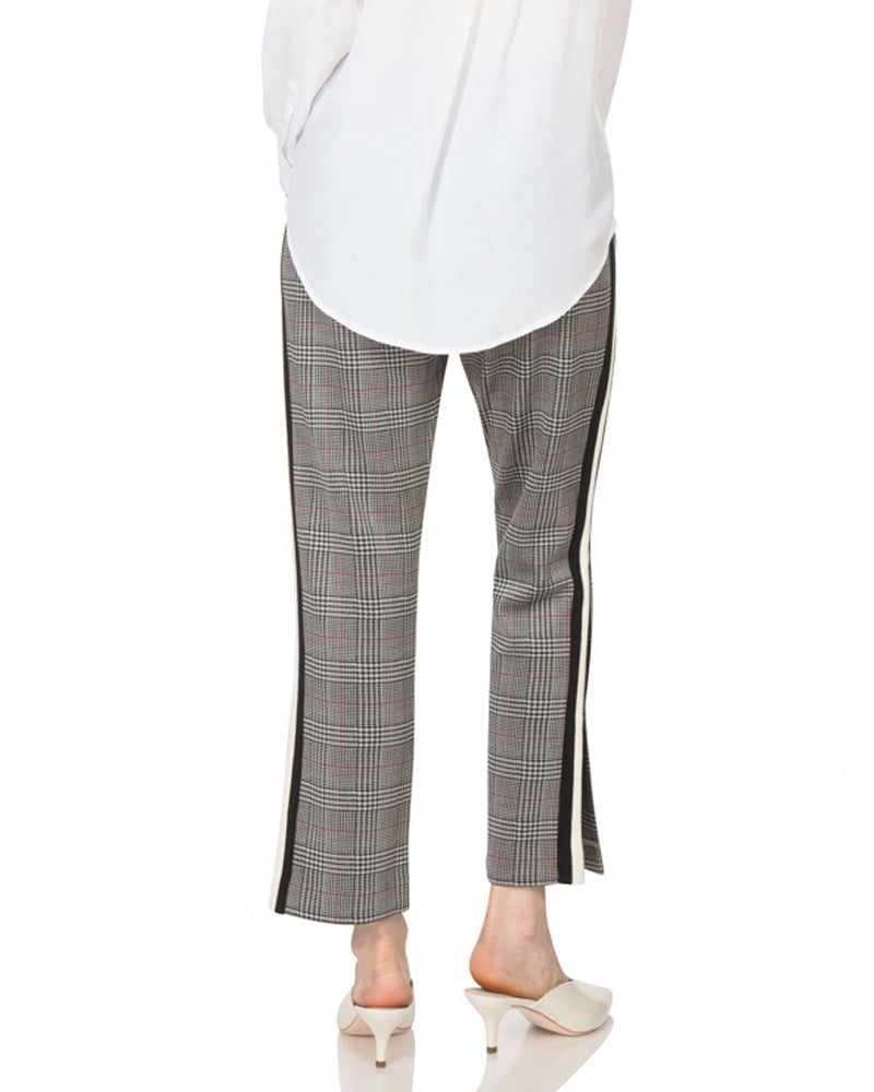 Glen Plaid Cropped Track Pant With Side Stripe