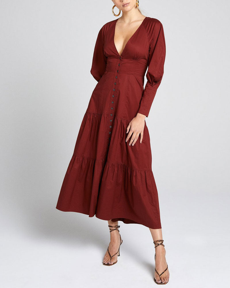 Fleur Billowed Sleeve Midi Dress