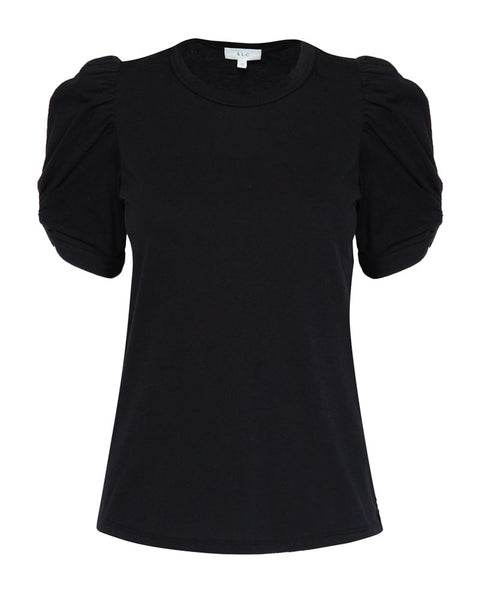 Kati Puff Sleeve Crewneck Tee in Black