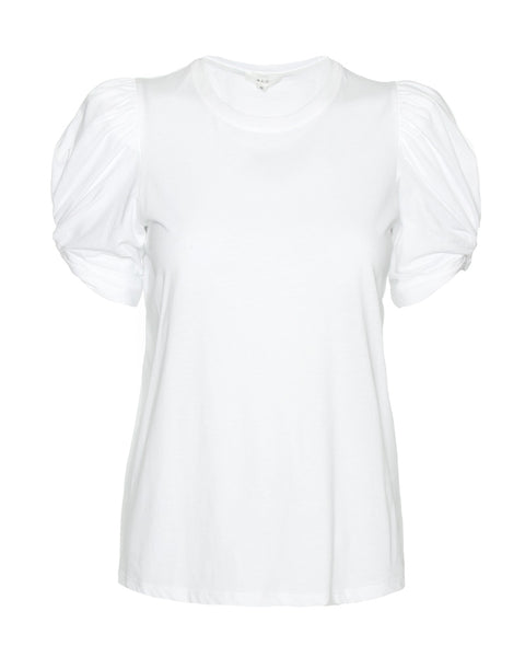Kati Puff Sleeve Crewneck Tee in White