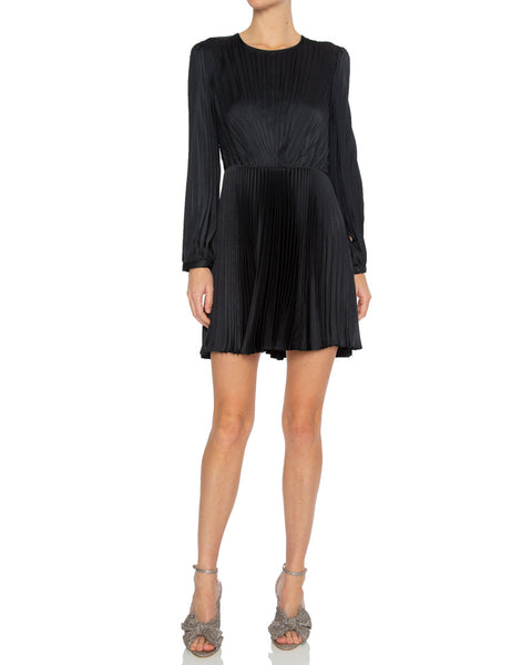 Tavi Pleated Long Sleeve Mini Dress
