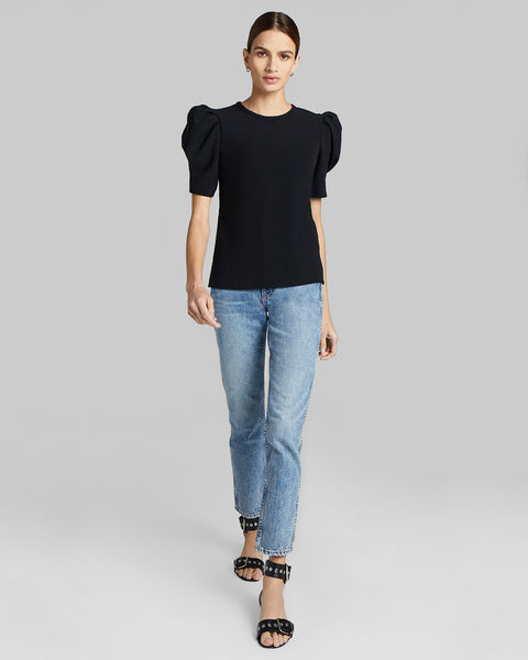 West Puff Sleeve Crepe Top