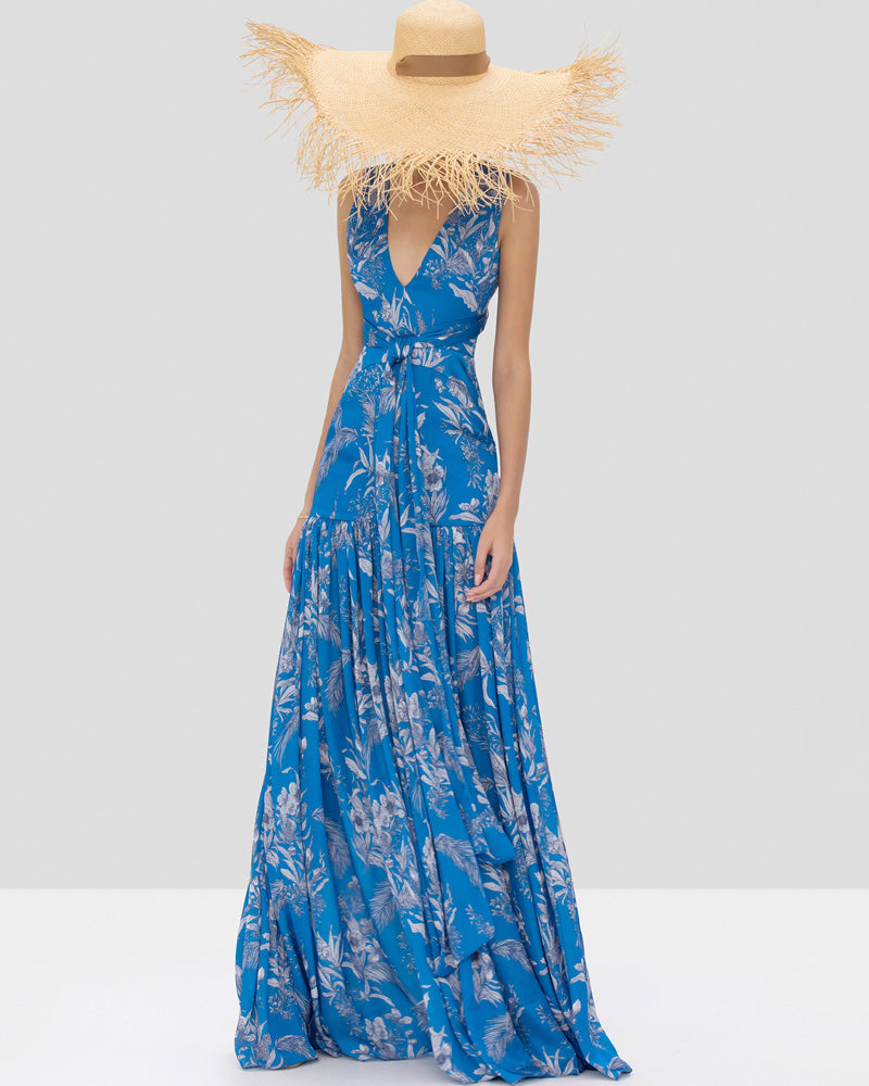 Belaya Floral Pleated Gown
