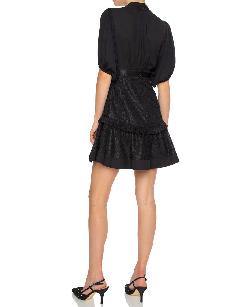 Estela Short Sleeve Flounce Mini Dress