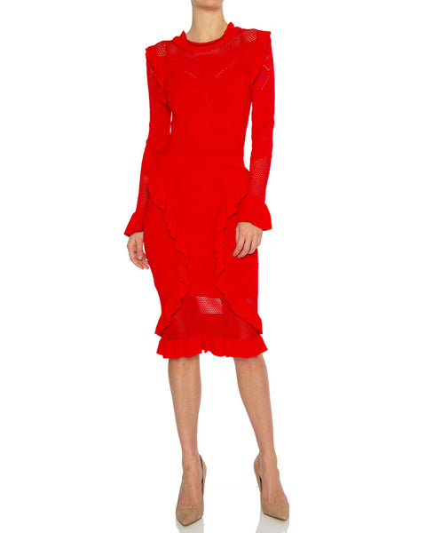 Sivan Pointelle Knit Midi Dress in Red