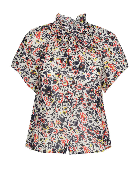 La Paz Blouse in Antonia Floral Red