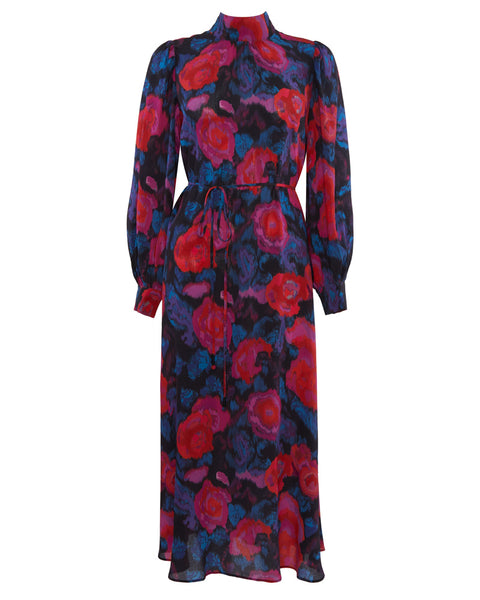 Matens Floral Silk Midi Dress- EXTRA 10% OFF AT CHECKOUT