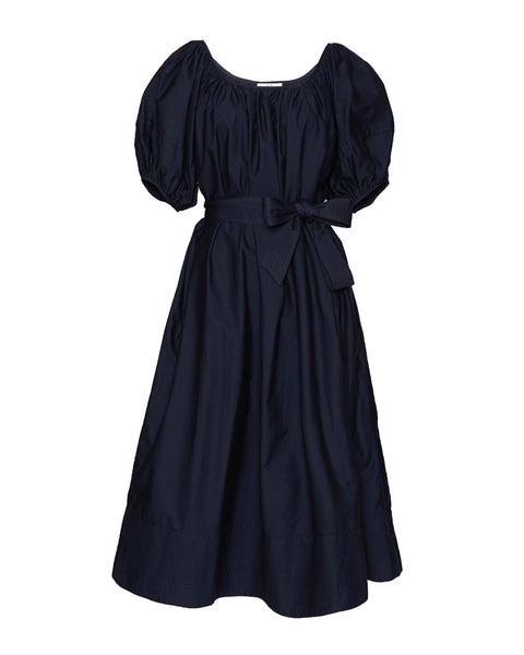 Balloon Sleeve Midi Dress in Navy