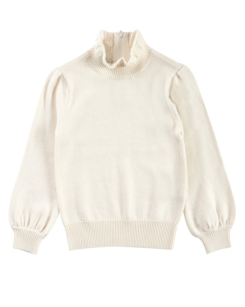 High Collar Peasant Sleeve Sweater