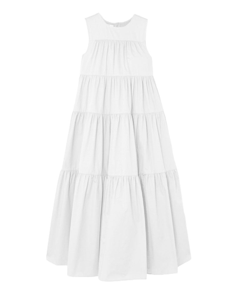 Sleeveless Tiered Dress in White