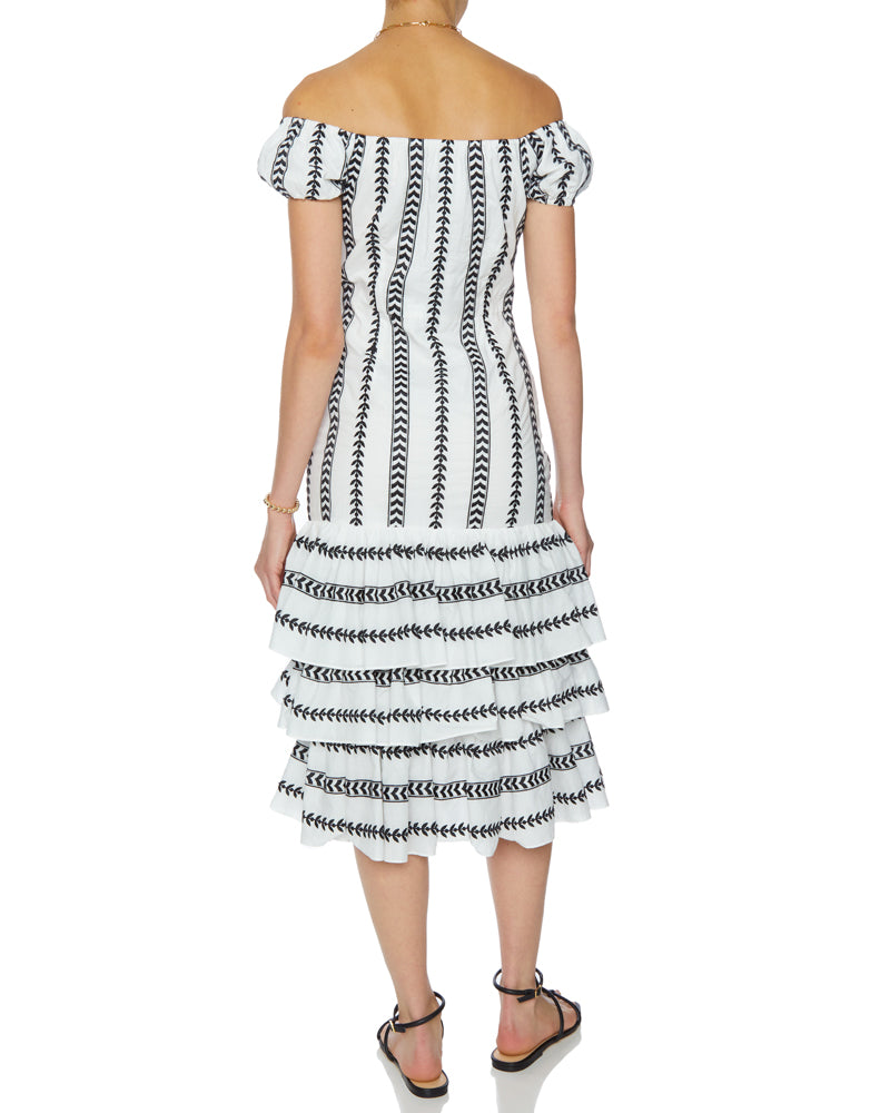 Dora Ruffled Leaf Embroidery Midi Dress