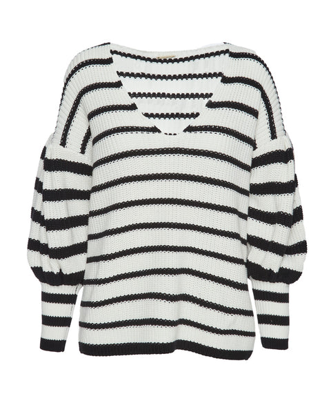 Striped V Neck Knit Sweater