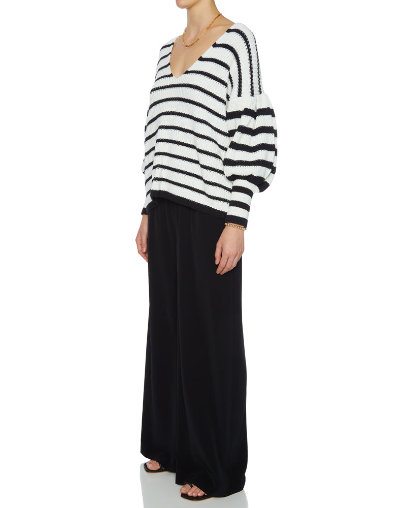 Striped V Neck Knit Sweater- EXTRA 10% OFF AT CHECKOUT