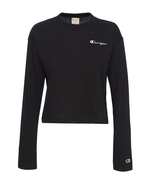 Long Sleeve Crewneck Cropped T-Shirt