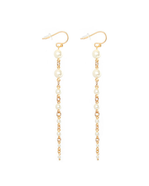 18k Gold Plated Graduated Cream Pearl Earrings