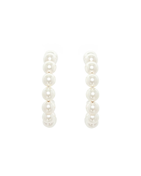 18k Gold Plated Standard Cream Pearl Holly Hoop Earrings