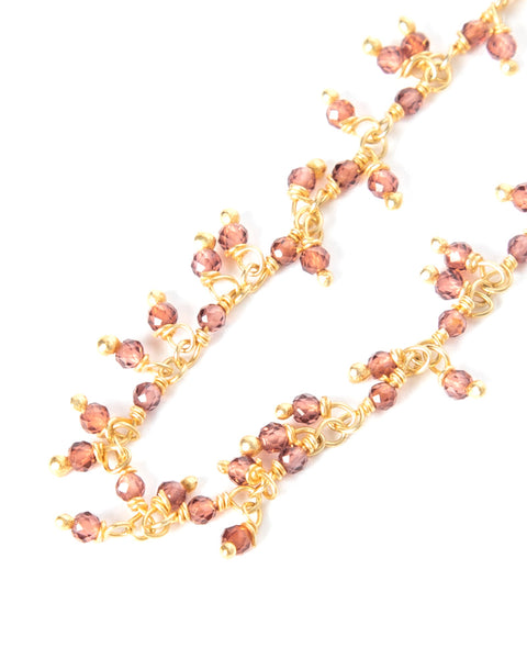 18k Gold Plated Garnet Necklace