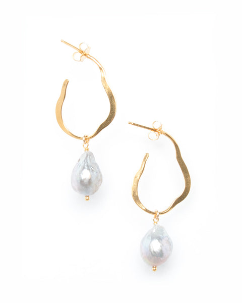 18k Gold Plated Grey Pearl Matisse Earrings