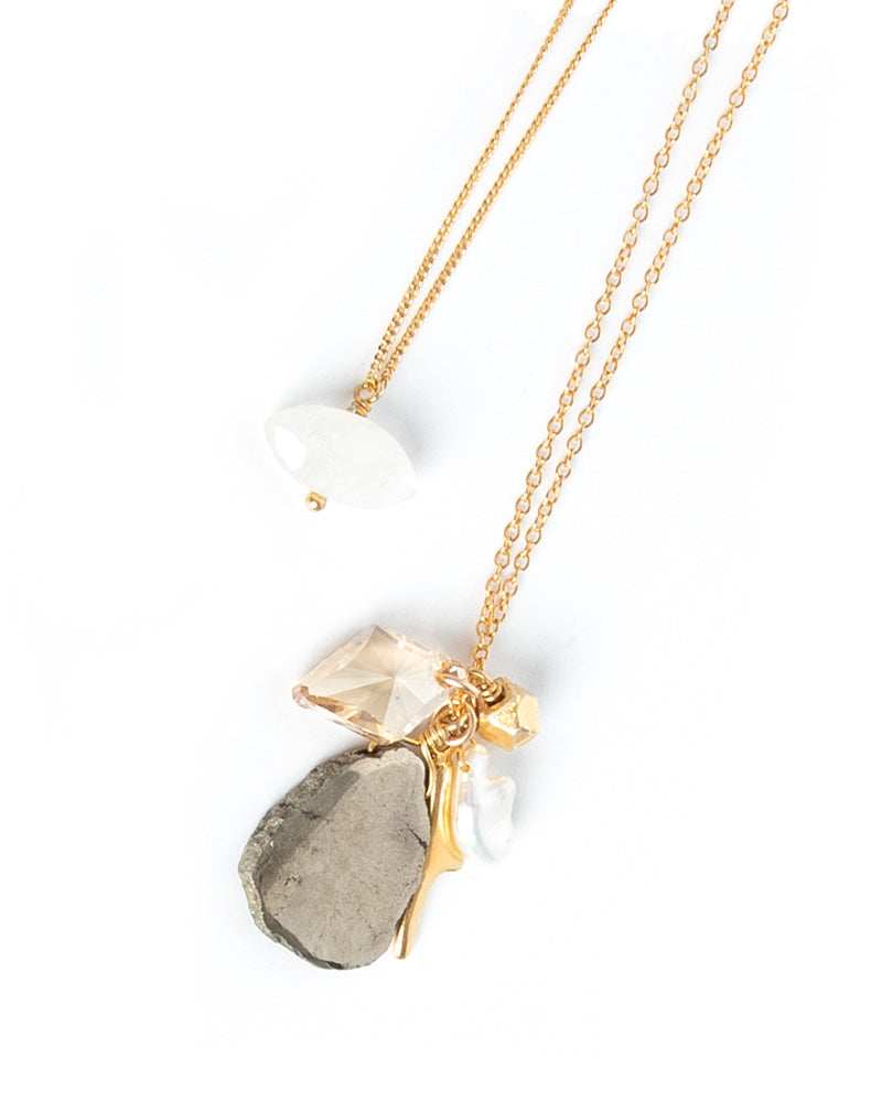 18K Gold Plated Pyrite Charm Necklace